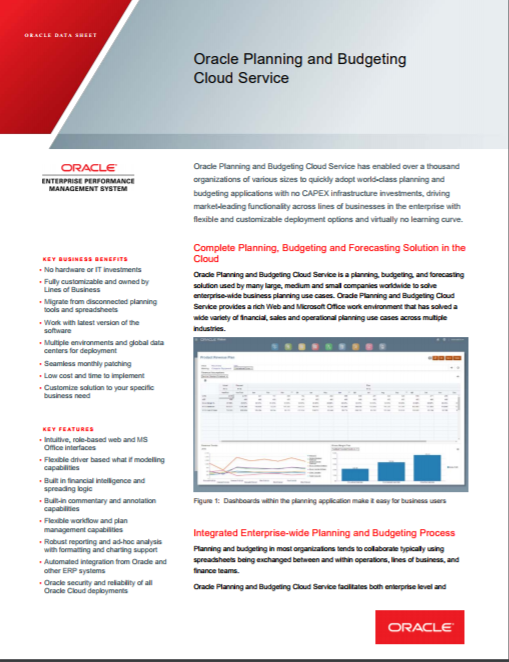 Oracle Cloud EPM PBCS